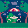 Romantic night picnic for two. Flat modern vector illustration.