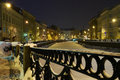Romantic night winter city snow frozen river saint petersburg Stock Photos
