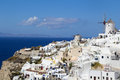 Romantic oia village in santorini greece a beautiful windmill view of Stock Images