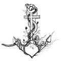 Romantic old anchor with roses black ink vintage illustration in and white vector eps Stock Photo