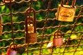 Romantic Padlocks with sunset light Royalty Free Stock Photo