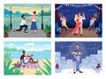 Romantic pastime flat color vector illustration set Royalty Free Stock Photo