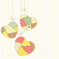 Romantic patchwork cute hearts in style hanging Stock Photography