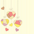 Romantic patchwork cute hearts in style hanging Royalty Free Stock Photography