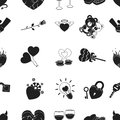 Romantic pattern icons in black style. Big collection of romantic vector symbol stock illustration