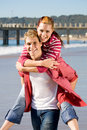 Romantic piggy-back ride Stock Images