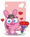 Romantic Pink Bunny Holding Out Flowers Royalty Free Stock Photos