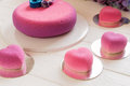 Romantic pink cakes in heart shape Royalty Free Stock Photo