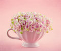 Romantic pink hydrangea flowers in a mug shabby chic on pastel vintage background with copy space Royalty Free Stock Images