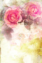 Romantic pink roses background vintage Royalty Free Stock Photography