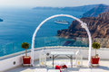 Romantic place for wedding ceremony in santorini island crete greece fira town Royalty Free Stock Image