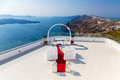 Romantic place for wedding ceremony in santorini island crete greece fira town Stock Photo