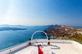 Romantic place for wedding ceremony in santorini island crete greece fira town Stock Photography