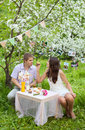 Romantic portrait of a beautiful couple in love young men and women have date outdoors garden spring among apple trees blossom Royalty Free Stock Image
