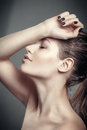 Romantic portrait of sensual fashion beautiful lady woman hand to face Royalty Free Stock Photo