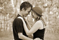 Romantic portrait of young woman & man in love Royalty Free Stock Photo