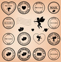 Romantic post stamps for valentine day - vector