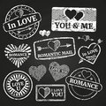 Romantic postage grunge stamp collection Royalty Free Stock Photo