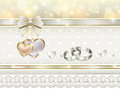 Romantic postcard for wedding day card a with rings decoration Royalty Free Stock Photos