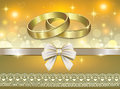Romantic postcard for wedding day a with rings Royalty Free Stock Photo
