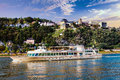 Romantic Rhein river cruises with famous castles valley. Germany Royalty Free Stock Photo