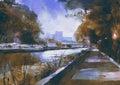 Romantic riverside walkway Royalty Free Stock Photo