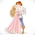 Romantic scene of a fabulous prince and princess kiss on white background Royalty Free Stock Photography