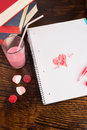 Romantic scribbling in a school notebook a valentines still life Royalty Free Stock Photo
