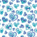 Romantic seamless pattern with colorful hand draw hearts. Blue hearts on white background. Vector illustration
