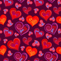 Romantic seamless pattern with colorful hand draw hearts. Bright hearts on purple background. Vector illustration.