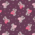 Romantic seamless pattern with teddy bears huging hearts Stock Photo