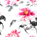 Romantic seamless pattern with watercolor peonies on white background. Pink hand painted flowers with black stems and