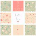 Romantic seamless patterns love set cartoon for cute wallpapers Stock Photography