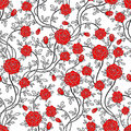 Romantic seamless rose flower pattern Stock Photos