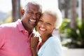 Romantic Senior Couple Hugging In Street Royalty Free Stock Photo