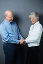 Romantic senior couple sharing a tender moment clasping hands as they stand facing each other smiling with love Royalty Free Stock Photography