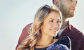 Romantic sensual young couple in love in summer field Royalty Free Stock Photo
