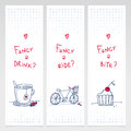 Romantic set of three doodle vertical banners with cup bicycle and cupcake with sweet note Royalty Free Stock Photography