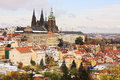 Romantic snowy colorful autumn prague gothic castle czech republic Stock Photography