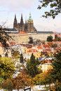 Romantic snowy colorful autumn prague gothic castle czech republic Royalty Free Stock Photos