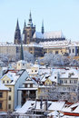 Romantic Snowy Prague gothic Castle, Czech R Stock Photo