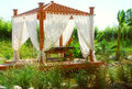 Romantic spa pavilion with curtain Stock Photo
