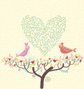 Romantic spring card birds on a branch Stock Photography