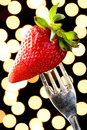 Romantic Strawberry on a Silver Fork Royalty Free Stock Photo