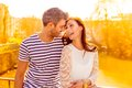 Romantic sun couple sundown city with yellow light Royalty Free Stock Images