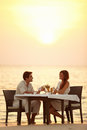 Romantic sunset dinner Royalty Free Stock Photography