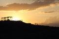 Romantic sunset on hill turkey Royalty Free Stock Photos