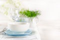 Romantic table set up for two white and blue serving Stock Photography