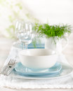 Romantic table set up for two white and blue serving Stock Image