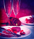 Romantic table setting Royalty Free Stock Photo